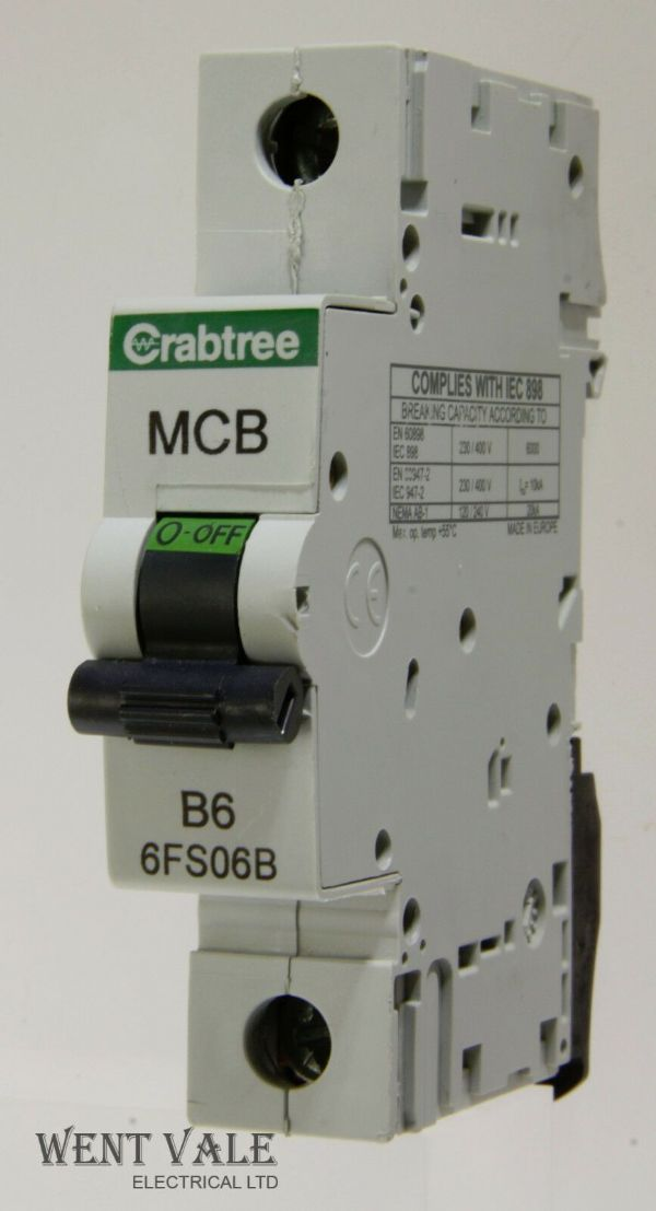 Crabtree Loadstar - 6FS06B - 6a Type B Single Pole MCB Used